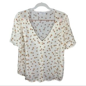 Elodie Floral Short Sleeve Blouse Size Large